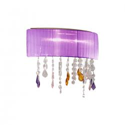 Wall Lamp PARALUME SWAROVSKI Pink/Amber/Purple + SPECTRA Clear, 24-carat gold, shade purple