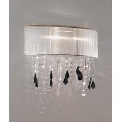 Wall Lamp PARALUME SWAROVSKI Black + SPECTRA Clear, 24-carat gold, shade white