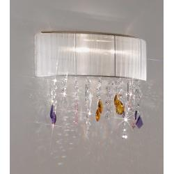 Wall Lamp PARALUME SWAROVSKI Pink/Amber/Purple + SPECTRA Clear, 24-carat gold, shade white