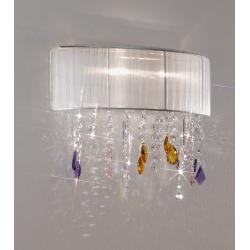 Wall Lamp PARALUME SWAROVSKI Pink/Amber/Purple + SPECTRA Clear, chrome, shade white
