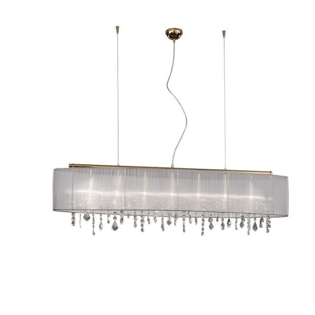 Pendant Lamp PARALUME, 140 SPECTRA Clear, 24-carat gold, shade white