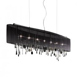Pendant Lamp PARALUME, 140 SWAROVSKI Black + SPECTRA Clear, chrome, shade black