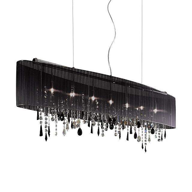 Pendant Lamp PARALUME, 140 SWAROVSKI Black + SPECTRA Clear, chrome, shade black