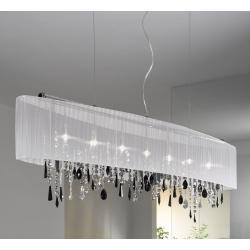 Pendant Lamp PARALUME, 140 SWAROVSKI Black + SPECTRA Clear, chrome, shade white