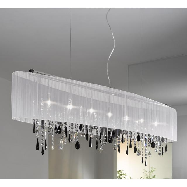 Pendant Lamp PARALUME, 140 SWAROVSKI Black + SPECTRA Clear, chrome, shade white
