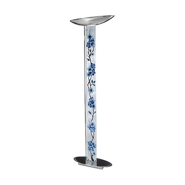 Floor Lamp DELPHI Decor PRIMAVERA SILVER, chrome, silver-plated, hand-painted