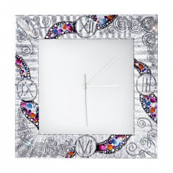 Clock TIME 30/30, silver-plated, hand-painted Decor KISS SILVER, 30x30cm