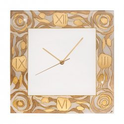 Clock TIME 30/30, gold-plated, hand-painted Decor AQUA CHAMPAGNE, 30x30cm