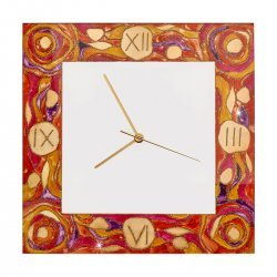 Clock TIME 30/30, gold-plated, hand-painted Decor AQUA RED, 30x30cm