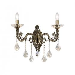 Wall Lamp CONTARINI CRYSTAL Spectra, antique brass, (shades optional)