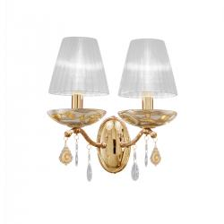 Wall Lamp CARMEN 2, 28 Decor AQUA CHAMPAGNE, PURE KOLARZ clear + handdecorated, 24-carat gold, shades optional)