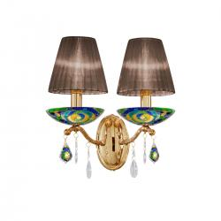 Wall Lamp CARMEN 2, 28 Decor AQUA BLUE, PURE KOLARZ clear + handdecorated, 24-carat gold, (shades optional)