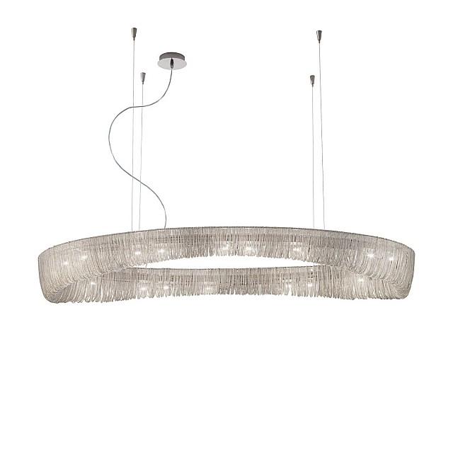 Pendant Lamp CLOUD, 140 Chrome, metal chains